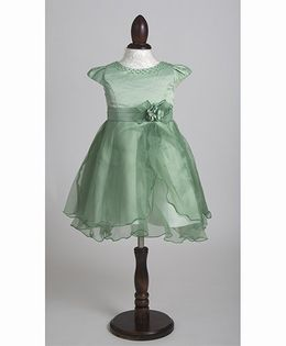 Whitehenz Clothing Stylish Bella Party Dress with Pearl Neckline - Pastel Green