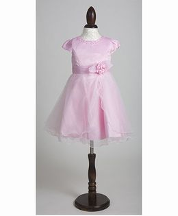 Whitehenz Clothing Stylish Bella Party Dress with Pearl Neckline - Baby Pink