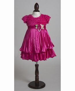 Whitehenz Clothing Rose Applique Uber Love Mesh Party Dress - Magenta