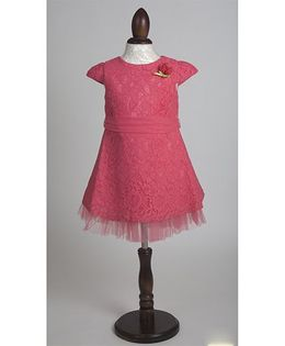 Whitehenz Clothing Elegant Satin Lace Overlay Party Dress - Watermelon