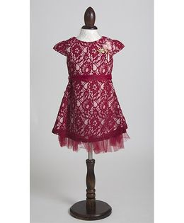 Whitehenz Clothing Elegant Satin Lace Overlay Party Dress - Maroon