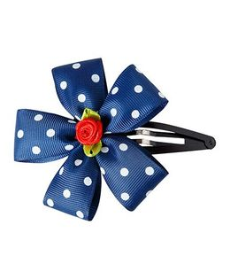 Keira'S Pretties Polka Dot Flower Tic Tak Hair Clip - Navy Blue