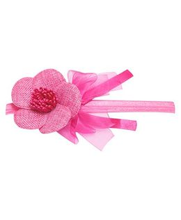 Keira'S Pretties Flowers And Organza Bows Headband - Dark Pink