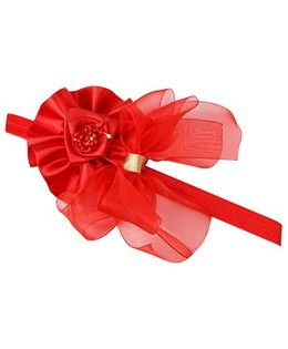Keira'S Pretties Flowers And Organza Bows Headband - Red