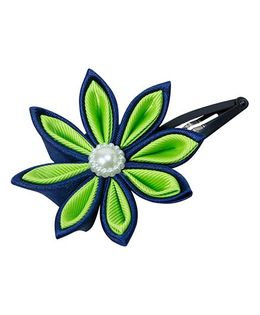 Keira'S Pretties Handmade Two Shades Kanzashi Flower Hair Clip - Blue & Green