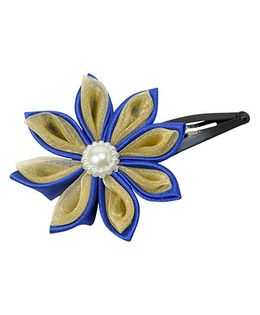 Keira'S Pretties Handmade Two Shades Kanzashi Flower Pearl Applique Hair Clip - Blue & Beige
