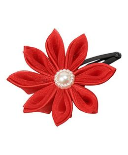 Keira'S Pretties Handmade Two Shades Kanzashi Flower Pearl Applique Hair Clip - Red