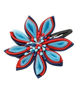 Keira'S Pretties Handmade Traditional Floral Hair Clip - Red & Blue