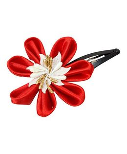 Keira'S Pretties Floral Design Tick Tak Hair Clip - Red & White