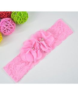 Little Miss Cuttie Blossom Flower With Lace Headband - Pink