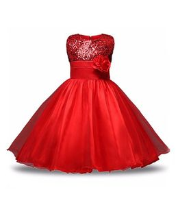 Princess cart Sequin Floral Ball Gown Dress - Red