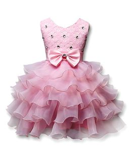 Princess cart Bowtie Sleeveless Party Dress - Pink