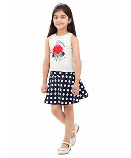 Tiny Baby Polka Dot Flare Skirt With Printed Top - White & Blue
