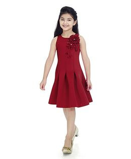 Tiny Baby Sleeveless Dress With Embellished Floral Patch Work - Maroon