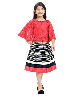 Tiny Baby Set Of Horizontal Stripe Skirt With Cape Top - Tomato
