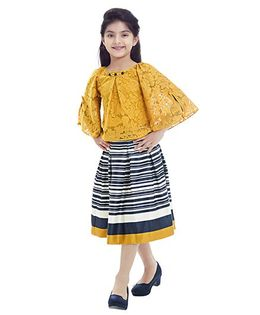 Tiny Baby Set Of Horizontal Stripe Skirt With Cape Top - Mustard