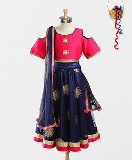 Pspeaches Embroidered Lehenga With Choli & Dupatta - Navy Blue