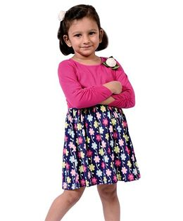 CrayonFlakes Multicolor Flowers On Knit Dress - Magenta