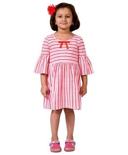 CrayonFlakes Stripe Jersey Flounce Sleeved Dress - Red & Pink