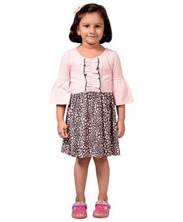 CrayonFlakes Hearts Jersey Flounce Sleeved Dress - Light Pink & Grey