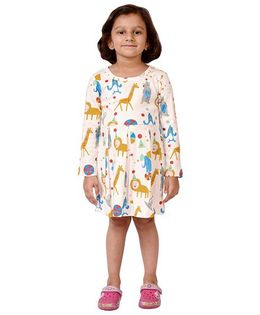 CrayonFlakes Animal Circus Pleated Dress - Off White