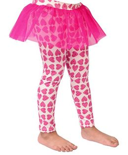CrayonFlakes Cute Hearts Frill Leggings - Bright Pink