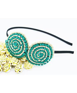 Little Tresses Partywear Double Puff Flower Hair Band - Green