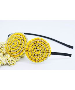 Little Tresses Partywear Double Puff Flower Hair Band - Yellow
