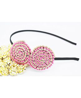 Little Tresses Partywear Double Puff Flower Hair Band - Light Pink