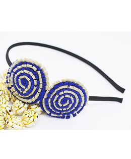 Little Tresses Partywear Double Puff Flower Hair Band - Dark Blue