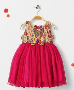Mom's Girl Baze Butterfly Print Partywear Dress - Pink