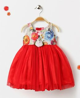 Mom's Girl Floral Party Wear Dress - Red