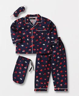 White Rabbit Heart Print Night Suit With Eye Mask - Navy & Red