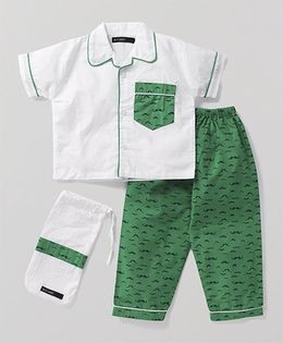 White Rabbit Night Suit With Moustache Print Pyajama - White & Green