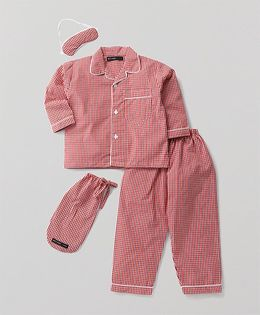 White Rabbit Checkered Night Suit With Eye Mask - Red