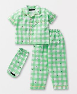 White Rabbit Plaids & Polka Night Suit With Eye Mask - Green