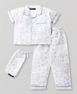 White Rabbit Bird Print Night Suit - White