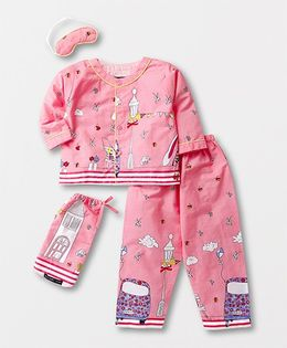 White Rabbit Butterfly Print Night Suit With Eye Mask - Pink