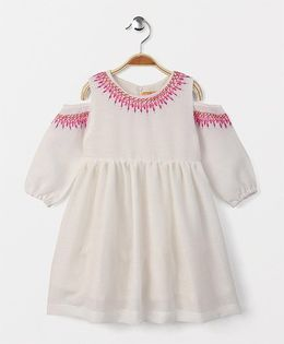 Yellow Duck Embroidered Cold Shoulder Frock - White