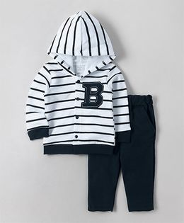 Wonderchild Striped Hoodie Jacket With Pants - White & Navy
