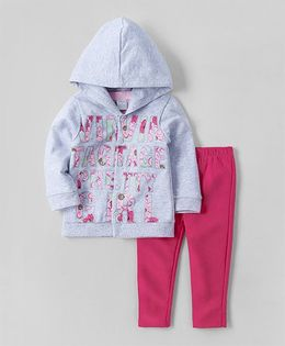 Wonderchild Hooded Jackets With Printed Top & Pants - Pink