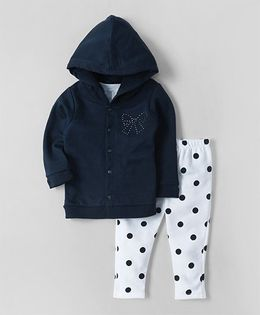 Wonderchild Hooded Jacket With Top & Polka Dot Pants - Navy & White