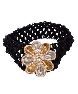 Miss Diva Ethnic Flower Headband - Silver & Golden