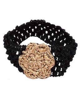 Miss Diva Ethnic Shimmer Crochet Flower Headband - Golden