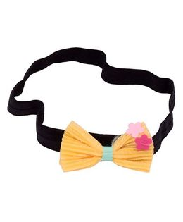 Miss Diva Cute Thin Headband With Bow And Flowers - Yellow
