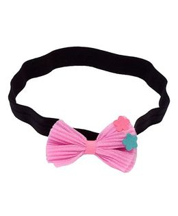 Miss Diva Cute Thin Headband With Bow And Flowers - Pink