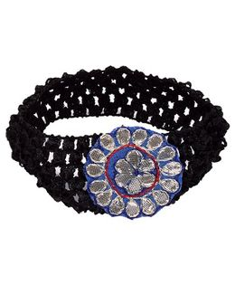 Miss Diva Ethnic Floral Applique Headband - Black & Blue