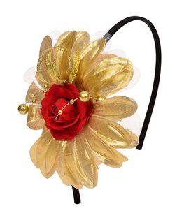 Miss Diva Beautiful Flower Hairband - Golden