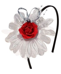 Miss Diva Beautiful Flower Hairband - Silver