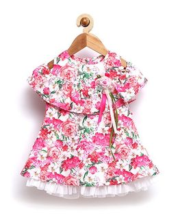 Rose Couture Fit & Flare Rose Printed Baby Dress With Hairband - Pink